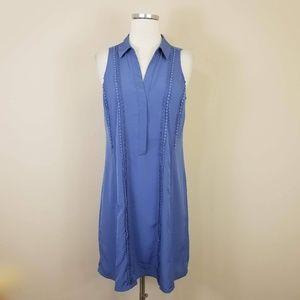 Ann Taylor Blue Sleeveless Shift Dress Collared 6